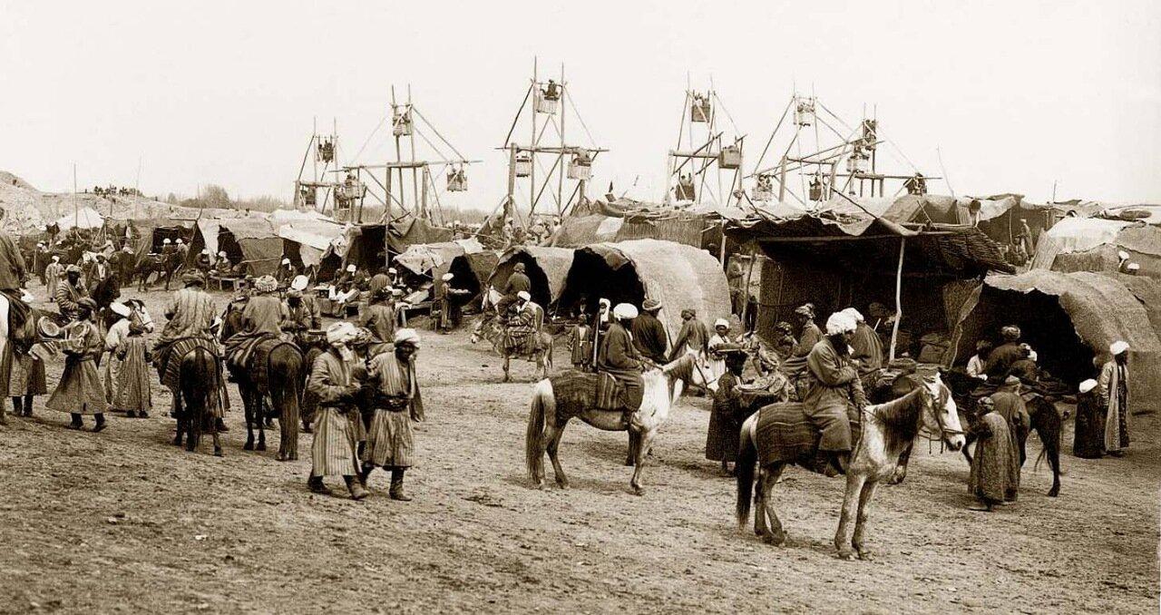 Народное гуляние на Афрасиабе .1890-e.