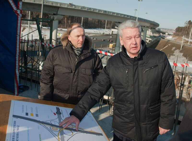 Мэр Собянин на развязке МКАД и Новорижского шоссе