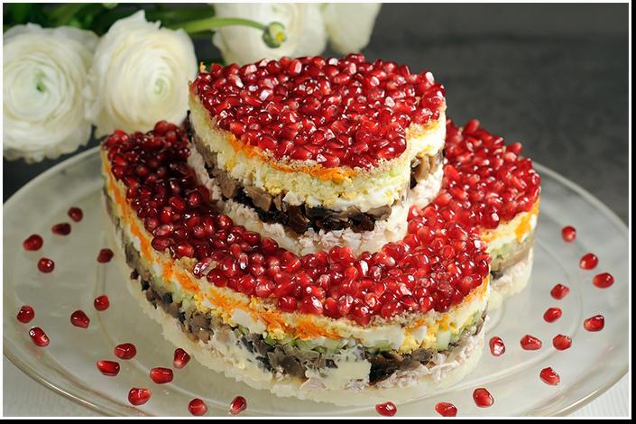 праздничный слоеный салат сердце фото рецепт