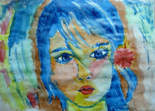 """Рисунок акварелью """"Девушка Осень"""""""