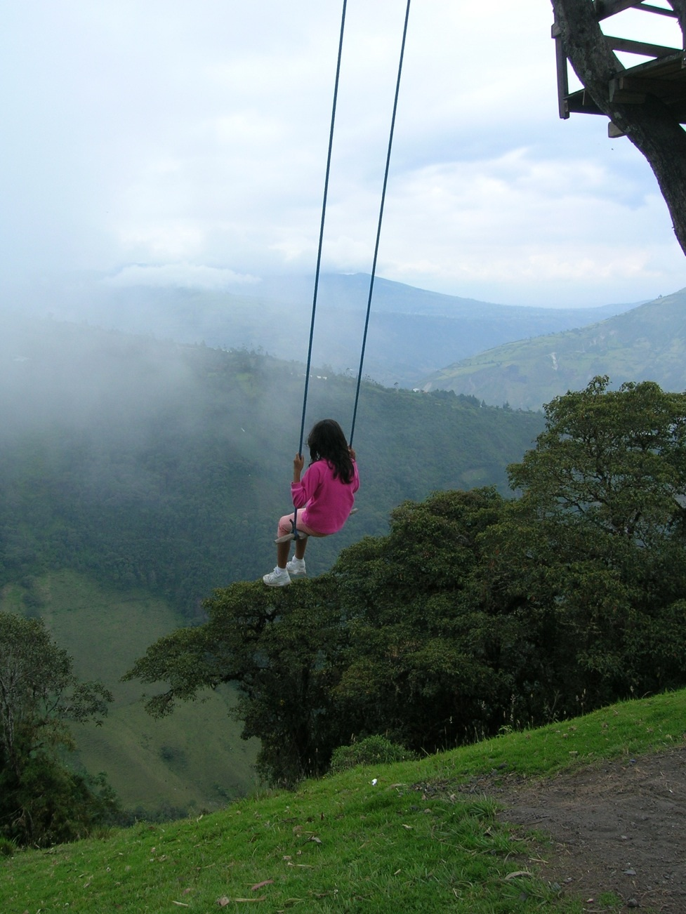 "The swing at the ""End of the World"" in Baños, Ecuador."