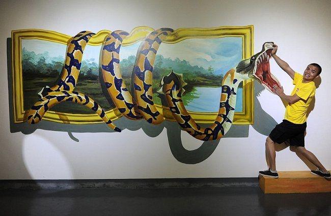 Интерактивная выставка 3D-картин в Китае