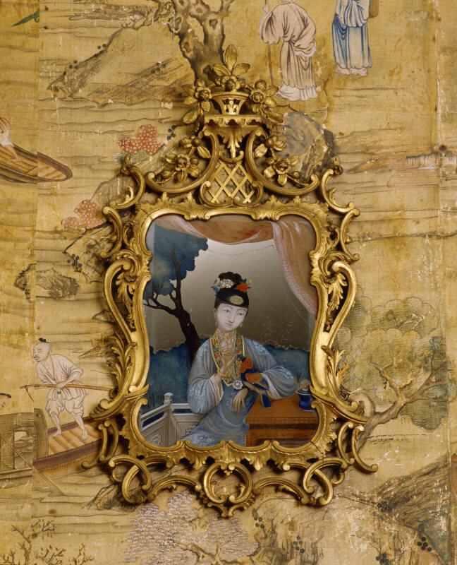 The Chinese Bedroom with one of the mid c18th Chinese mirror paintings with a Rococo style at Saltram, Devon