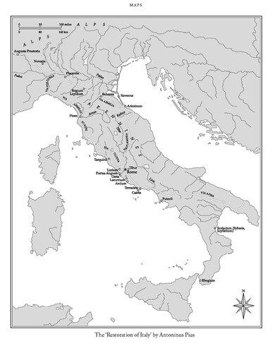 Карта Италии периода Антонина Пия (138 — 161 н.э.)