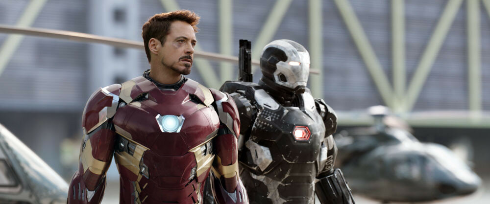 Marvel's Captain America: Civil WarL to R: Iron Man/Tony Stark (Robert Downey Jr.) and War Machine/James Rhodes (Don Cheadle)Photo Credit: Film Frame© Marvel 2016
