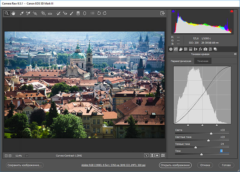 настройки параметрической кривой camera raw