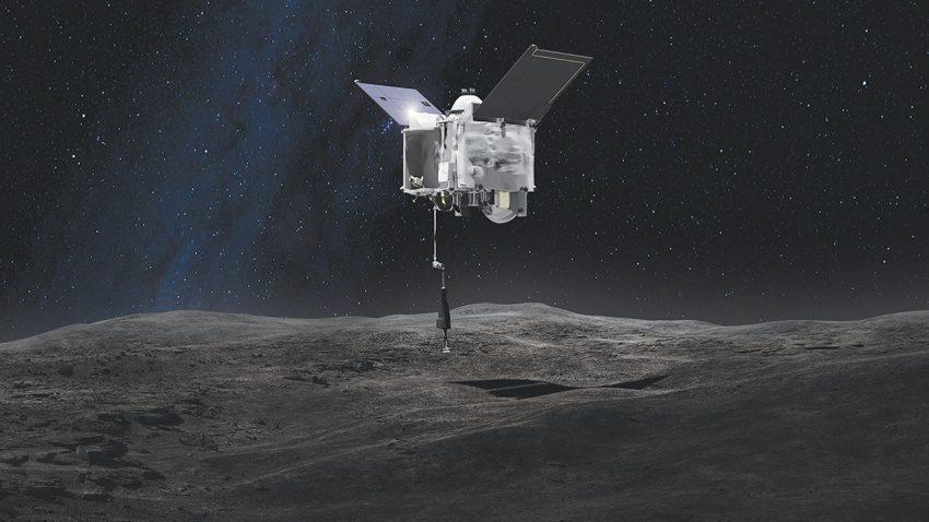 Капсула OSIRIS-Rex и след от микрометеорита