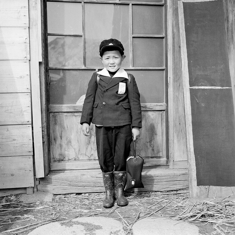 Schoolboy in Uniform With Boots - 1950s Japan