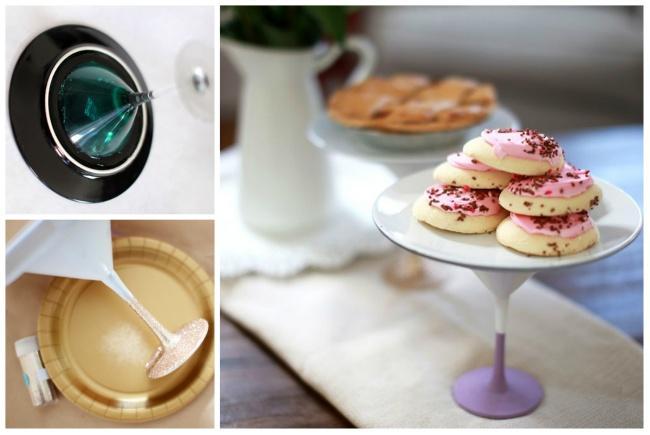 11. Приклеиваем тарелку кбокалу иполучаем очаровательную подставку для пирожных.
