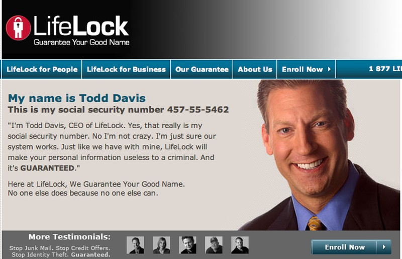 Компания LifeLock предоставляет услуги по защите персональных данных. Что может расположить к ней лу