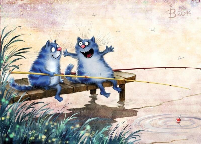 Синие Коты.  Художница Ирина Зенюк