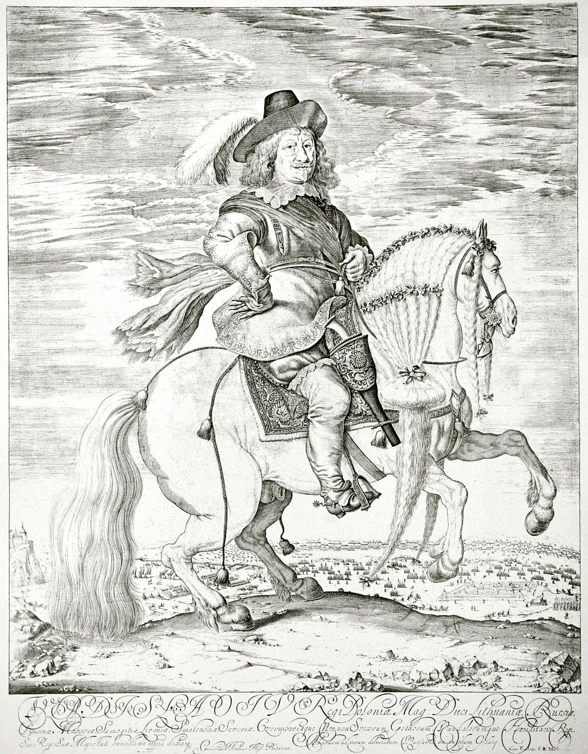 30. Конный портрет Короля Владислава, гравированный в 1648 году Вильгельмом Хондиусом
