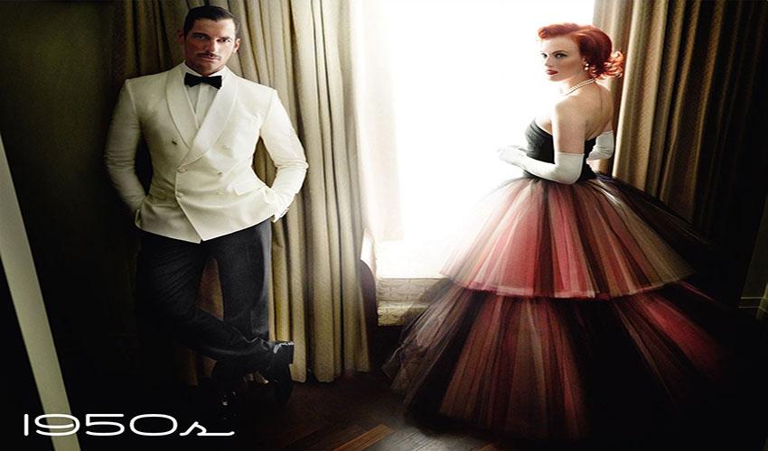 Vogue UK June 2016 Decades 1950s David Gandy - Karen Elson-by Mario Testino