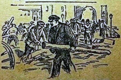 Рисунок художника Васильева, Петра Васильевича ( 1899—1975 )В.И.ЛЕНИН НА СУББОТНИКЕ .jpg