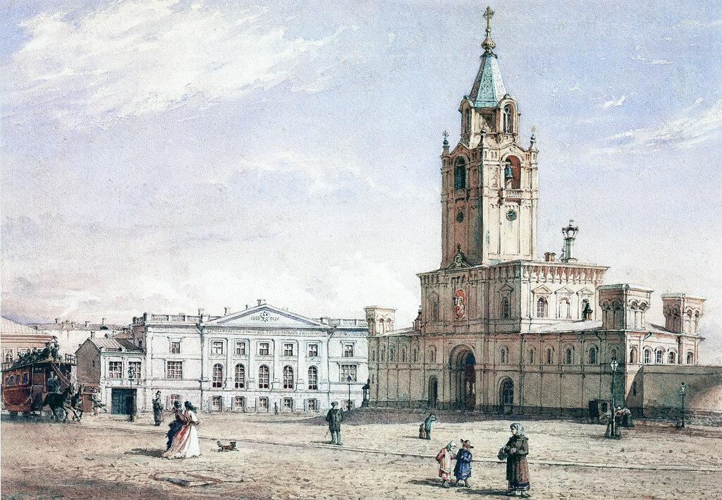 453240 Страстной монастырь Акварель Ф.И.Ясновского 1877