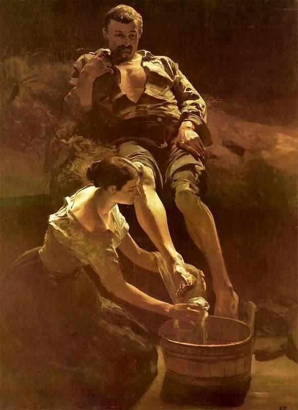 Мытьё ног, 1887_Яцек Мальчевский(1854 -  1929)