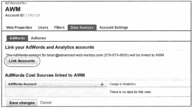 Рис. 6.12. Привязка аккаунта AdWords к аккаунту Google Analytics