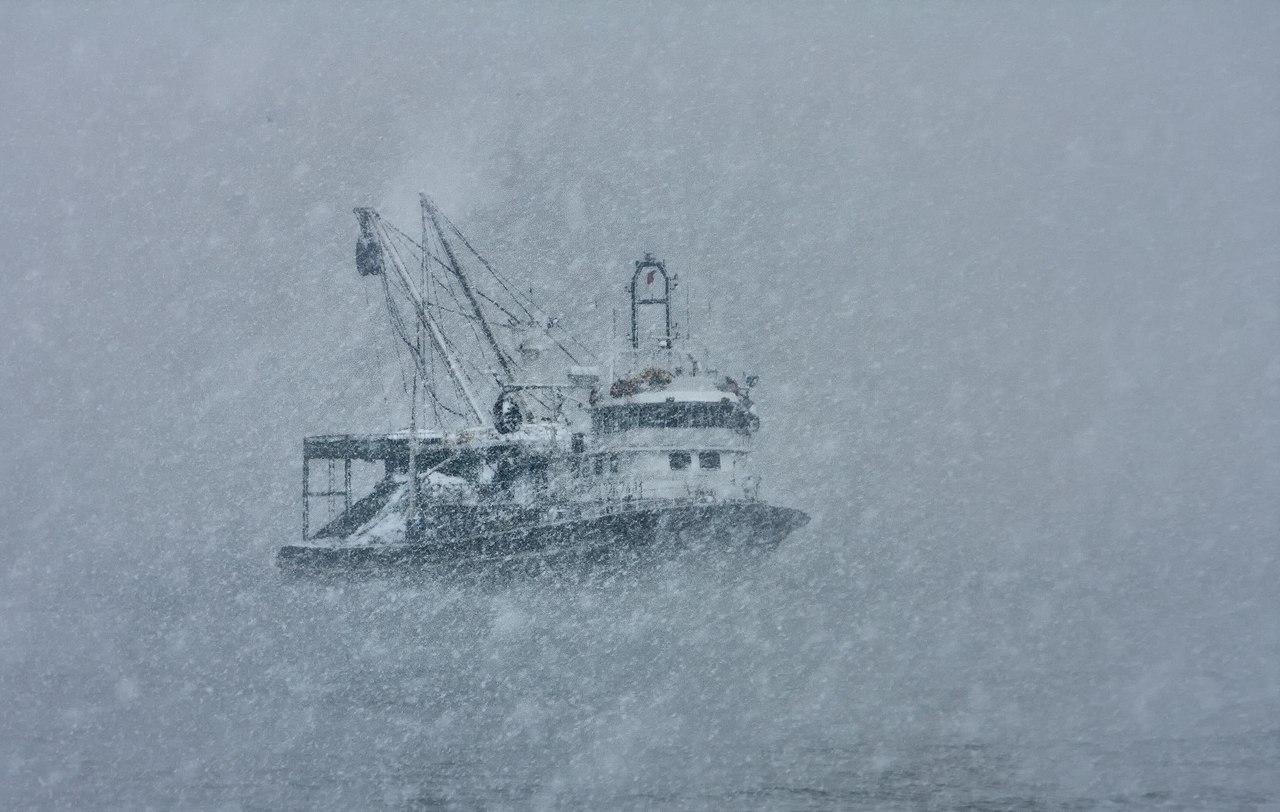 Fishing Boat and Snow