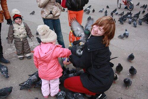 Дети и голуби.