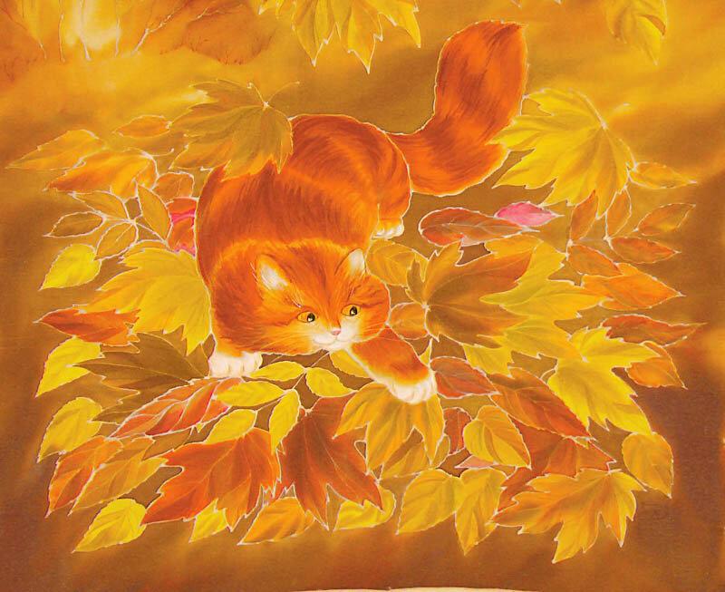 рыжая кошка осень картинки