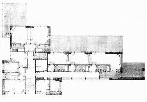 Дом Германа Ланге в Крефельде, архитектор Мис ван дер Роэ, План 2-ого этажа