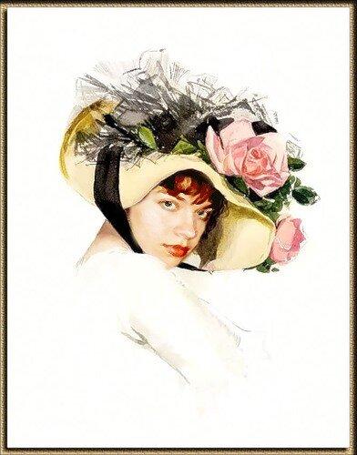 """Оригинал - Схема вышивки  """"портрет девушки в шляпке """" - Схемы вышивки - иринаЖ - Авторы - Портал  """"Вышивка крестом """" ."""