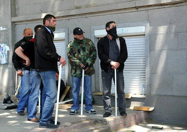 Georgian opposition activists armed with