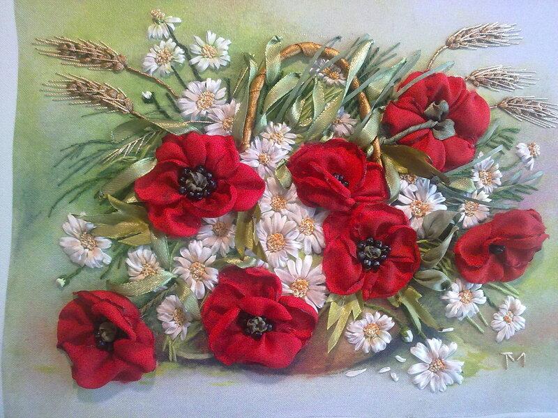 Вышивка лентами цветы в корзинке