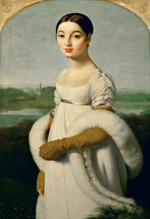 Жан Огюст Доминик Энгр: Мадмуазель Ривьер Лувр, Париж (Musée du Louvre, Paris).1806, 100х70