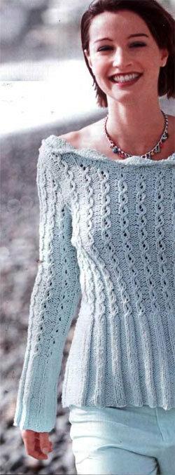 голубой пуловер с открытой спиной
