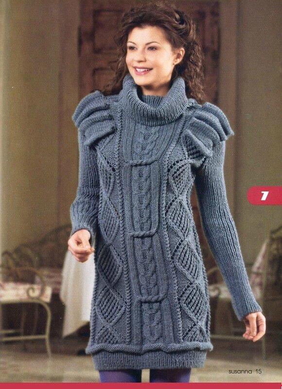 Платье, связанное спицами, с высоким воротником и легкомысленными крылышками.  В этом вязаном платье вы можете пойти...