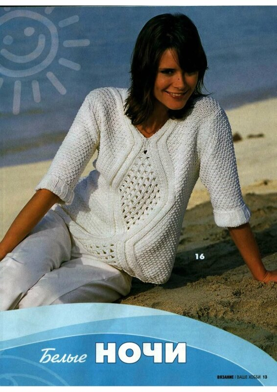 свитер женский спицами схема молодежный 2015 фото