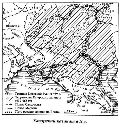 Хазарский каганат в X веке, карта