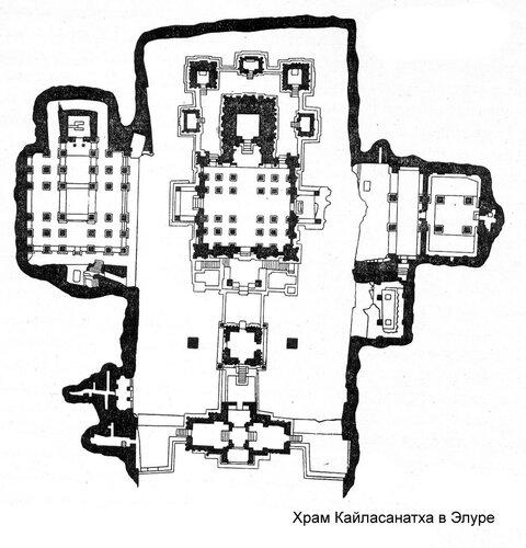 Храм Кайласанатха в Элуре, план