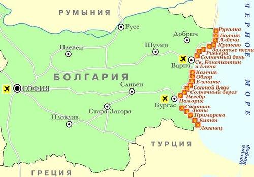 Карта Болгарии, увеличить