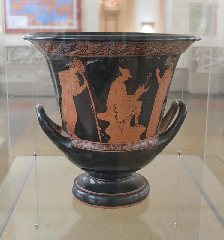 Кратер чашевидный краснофигурный - Гермес с младенцем Дионисом
