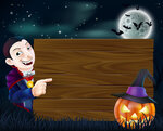 A cartoon Halloween Dracula wooden sign with vampire pointing at a wooden sign and scary pumpkin and bats flying in front of a full moon