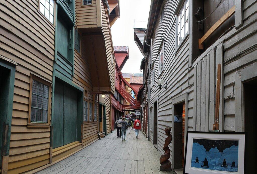 Bergen, Bryggen, Bredsgården, улица Бредсгарден. Берген, Брюгген