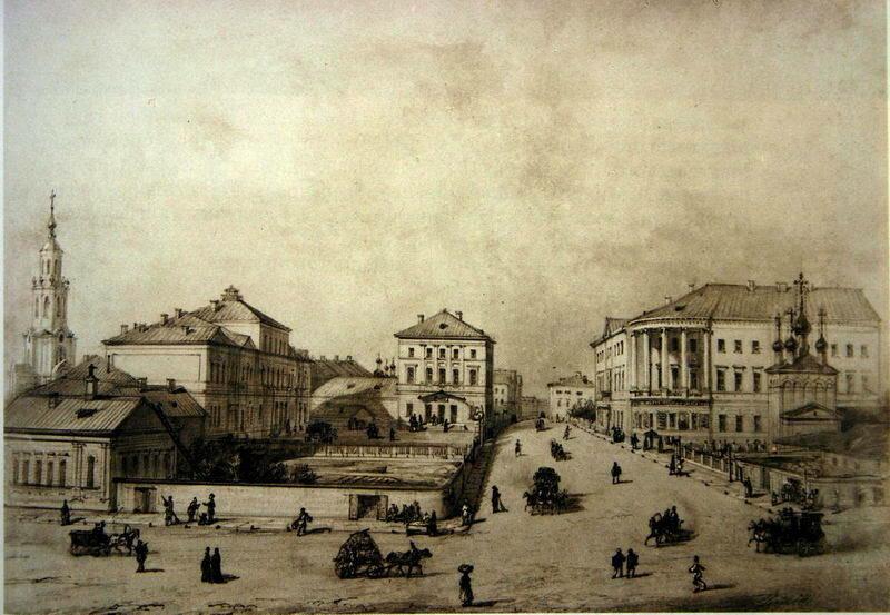 Вид Мясницкой от Мясницких ворот. Акварель И.Шарлеманя. 1853г.