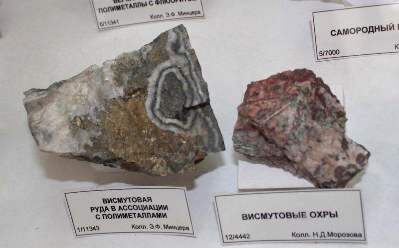 Висмутовая руда в ассоциации с полиметаллами; висмутовые охры
