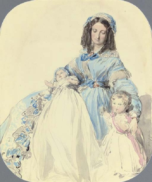 Study of Princess Clémentine, with her sons, Philip and Augustussigned and dated 'F Winterhalter 1845'