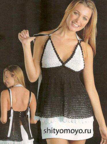 Бесплатные схемы вязания крючком с описанием: черно-белая туника