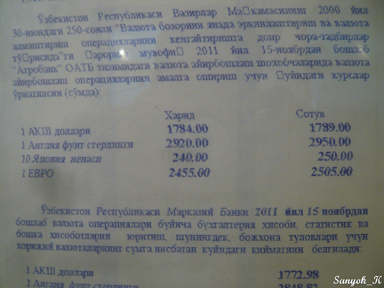 Курс доллара на сегодня узбекистан