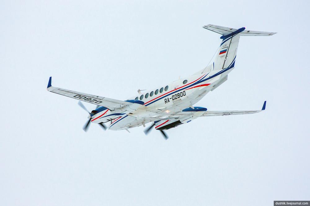 Летающая лаборатория Beechkraft King Air 350i в Челябинском небе