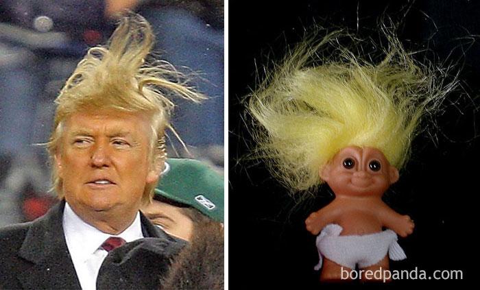 Дональд Трамп, над чьей прической так любит издеваться интернет, или кукла-тролль?