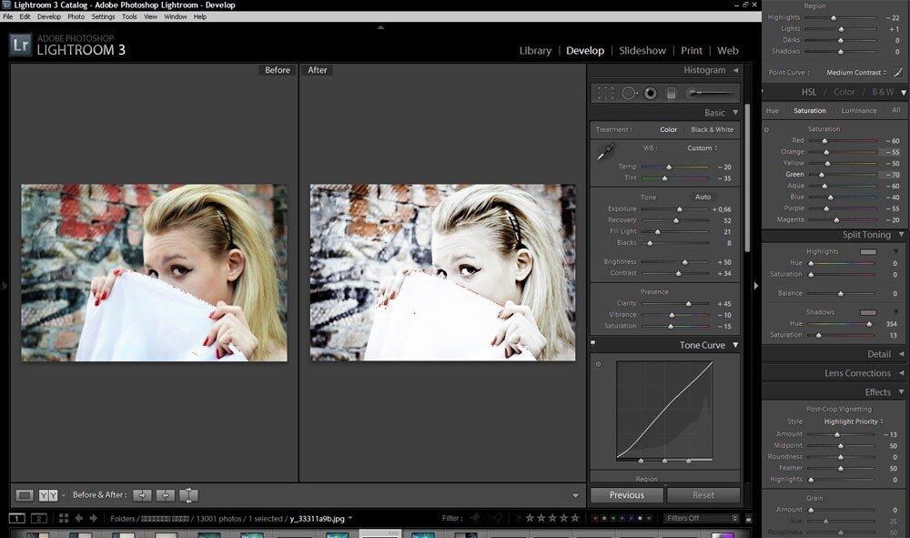 Лайтрум обесцвечивает фотографии