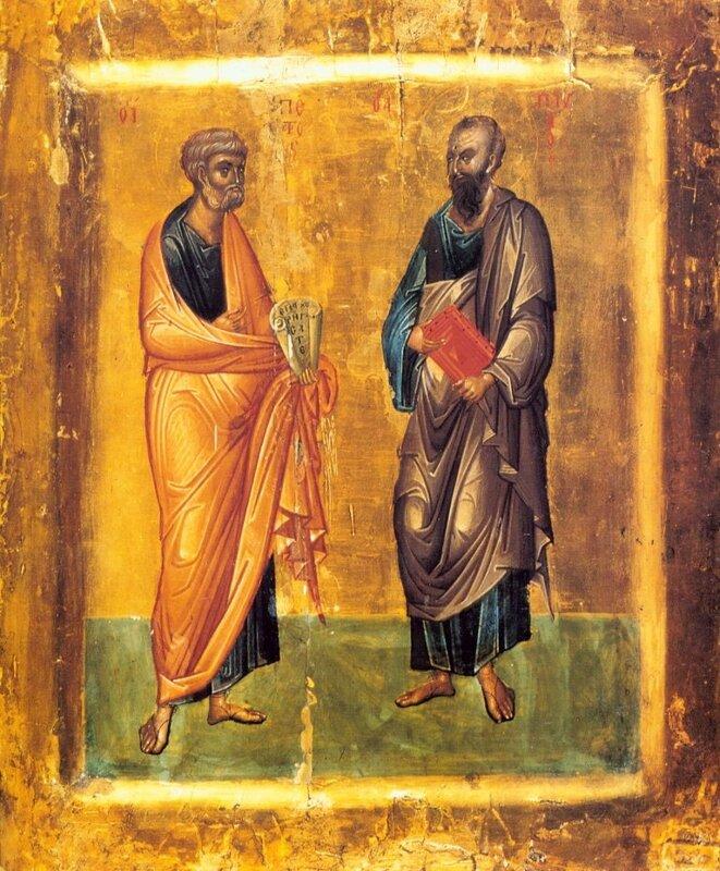 Святые апостолы Петр и Павел.  Монастырь св. Екатерины на Синае, 14 век. апостол.