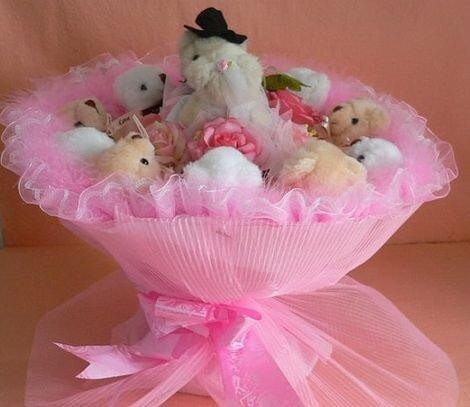 Необычные свадебные букеты с мягкими игрушками