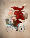 Santa Claus rides the bicycle