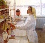 В лаборатории (худ. А. Голубцов, 1975)